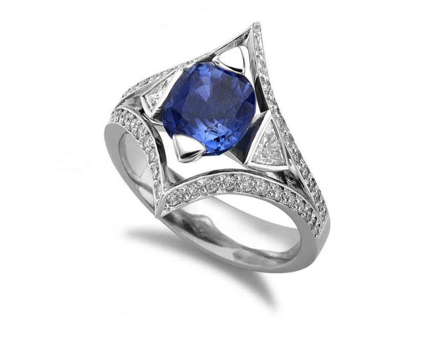 Sapphire Trillion Ring