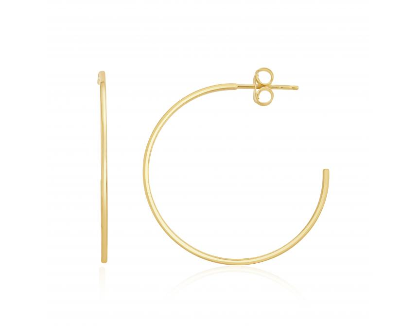 Yellow Gold Square Tube Hoops 32mm