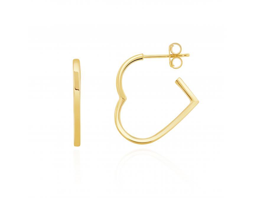 Yellow Gold Heart Shape Hoops 20mm