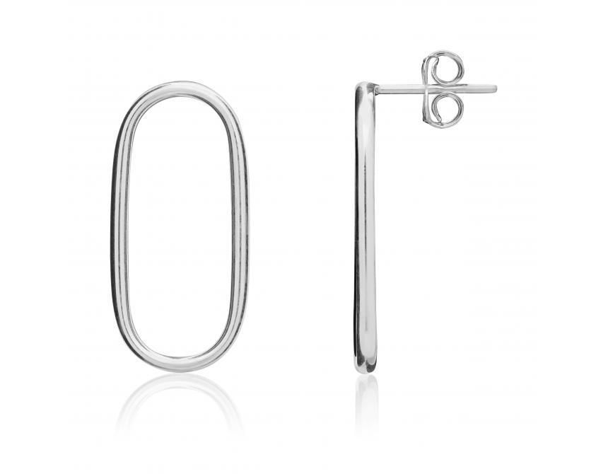 White Gold Open Oval Earrings