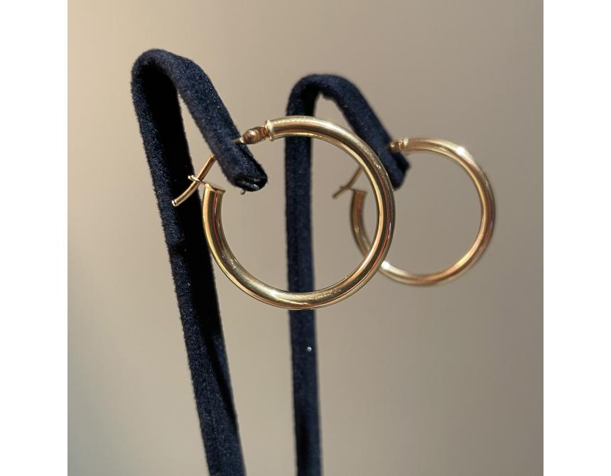 Yellow Gold Hoops Earrings 24mm