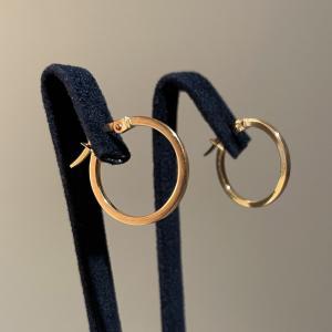 Yellow Gold Hoops Earrings 18mm
