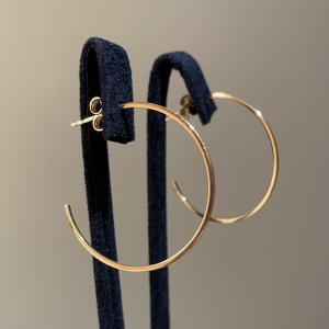 Yellow Gold Hoops Earrings 30mm