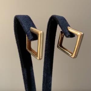 Yellow Gold Square Hoops 19mm