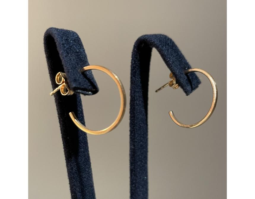 Yellow Gold Hoops Earrings 16mm