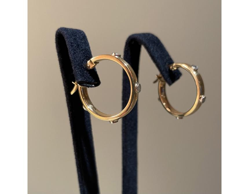 Yellow Gold with White Screw Hoops 20mm