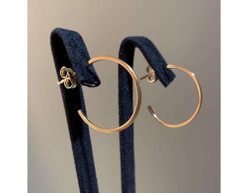 Yellow Gold Hoops Earrings 20mm
