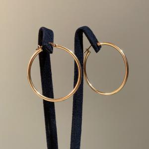 Yellow Gold Hoops Earrings 34mm