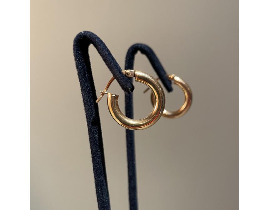Yellow Gold Hoops Earrings 17mm