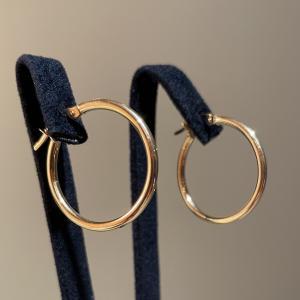 Yellow Gold Hoops Earrings 23mm
