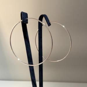 Large White Gold Hoops 63mm