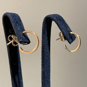 Yellow Gold Hoops Earrings 12mm