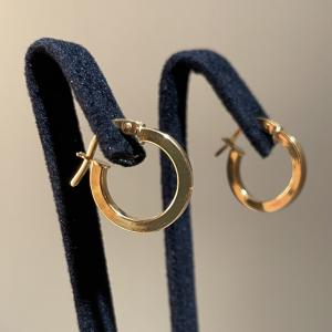 Yellow Gold Hoops Earrings 13mm