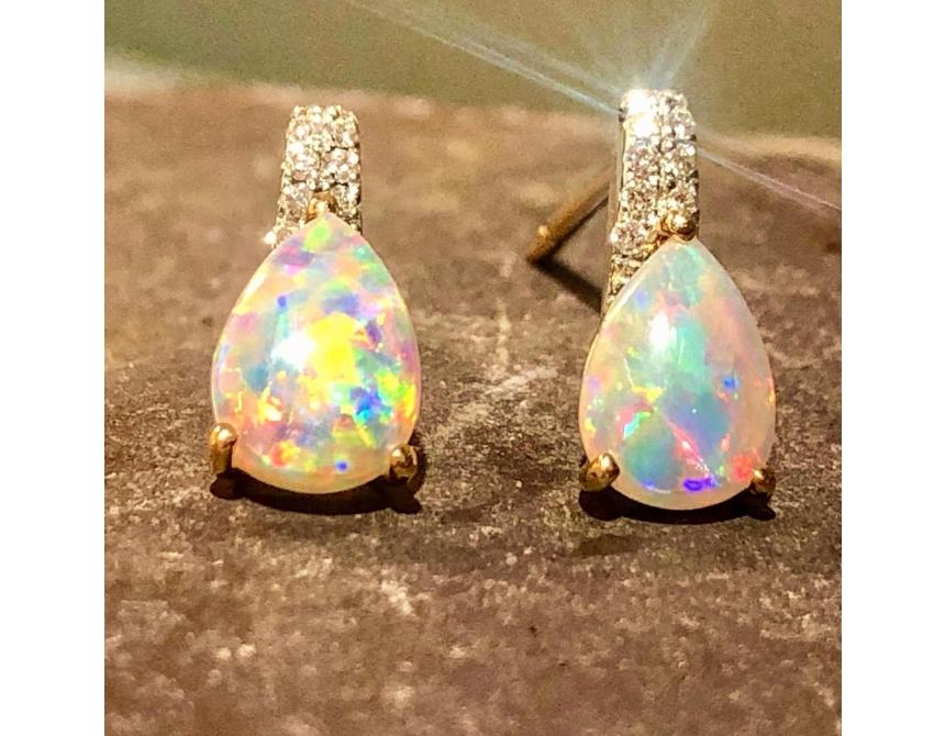 18ct Yellow Gold Opal Studs with Diamonds