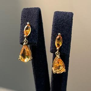 Yellow Gold Double Citrine Drop Earrings