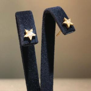 Yellow Gold Star Diamond Stud Earrings