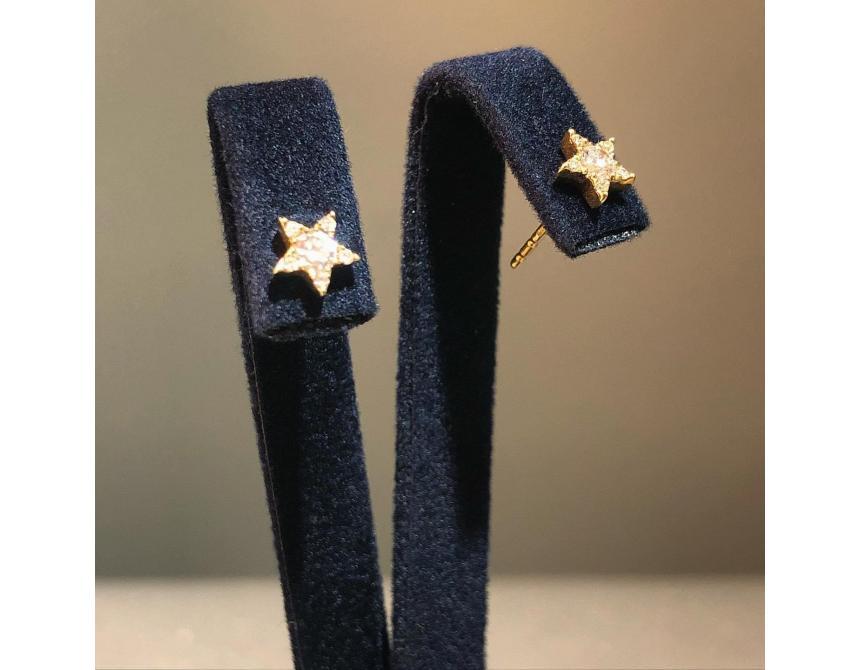 Yellow Gold Star Diamond Stud Earrings