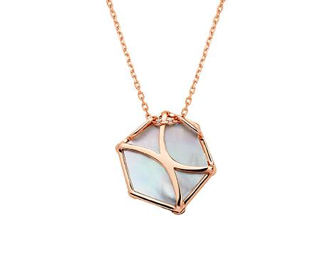 Nova Hexagon Large Pendant in Rose Gold