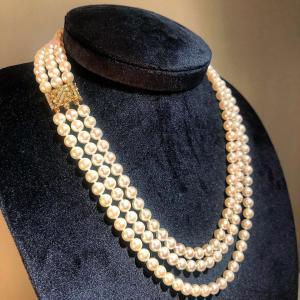 Akoya Pearl Necklace with Diamonds