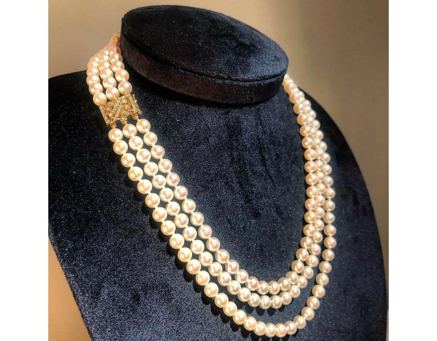 Akoya Pearl Necklace with Diamonds