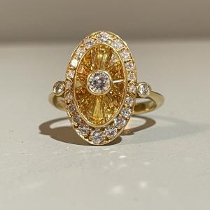 18ct Yellow Gold, Yellow Sapphire & Diamond ring