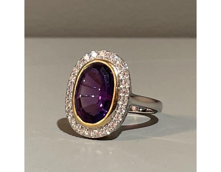 18ct White Gold Amethyst Cocktail Ring