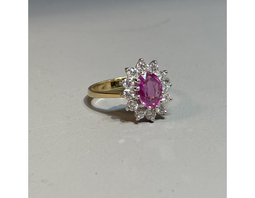 18ct Yellow, White Gold & Pink Sapphire Cluster Ring