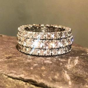 18ct White Gold Trio Eternity Ring