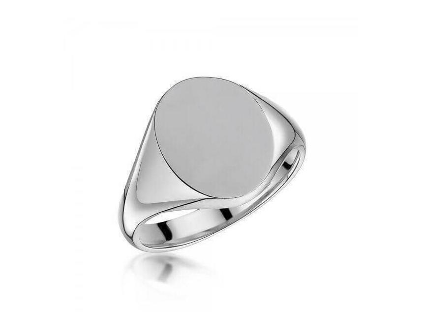 Sterling Silver 20x16mm Oval Signet Ring