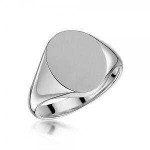 Sterling Silver 14x12mm Oval Signet Ring