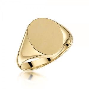 18ct Yellow Gold 14x12mm Oval Signet Ring