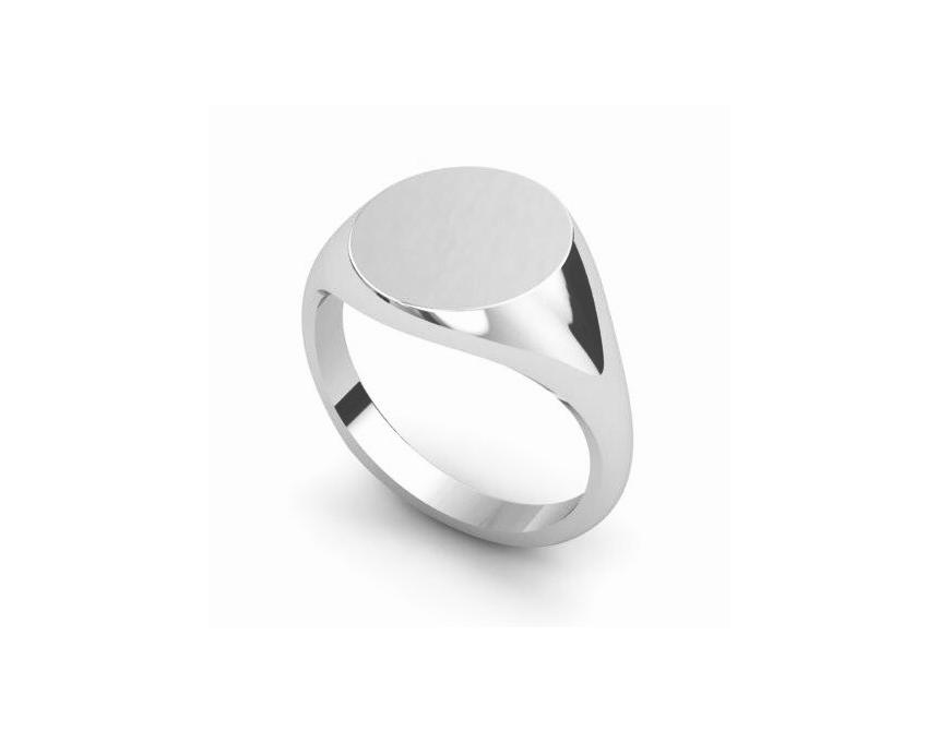 Sterling Silver 11mm Round Signet Ring