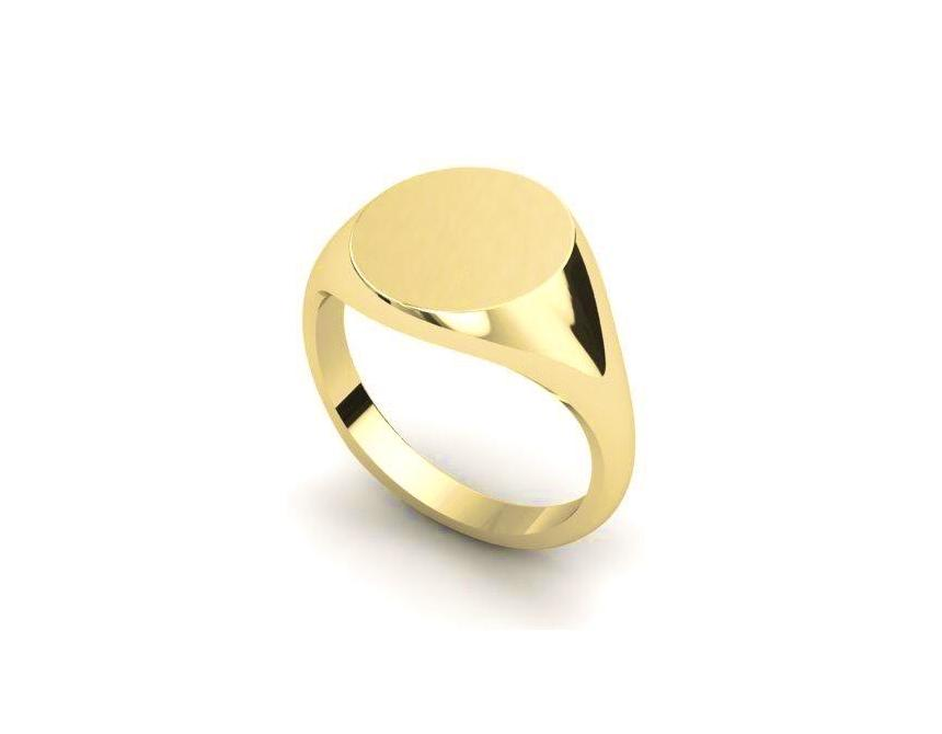 18ct Yellow Gold 13mm Round Signet Ring